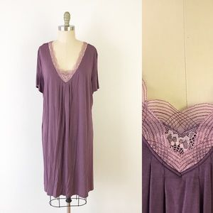 SOMA Purple Pink Nightgown Dress Nighty Pjs V Neck